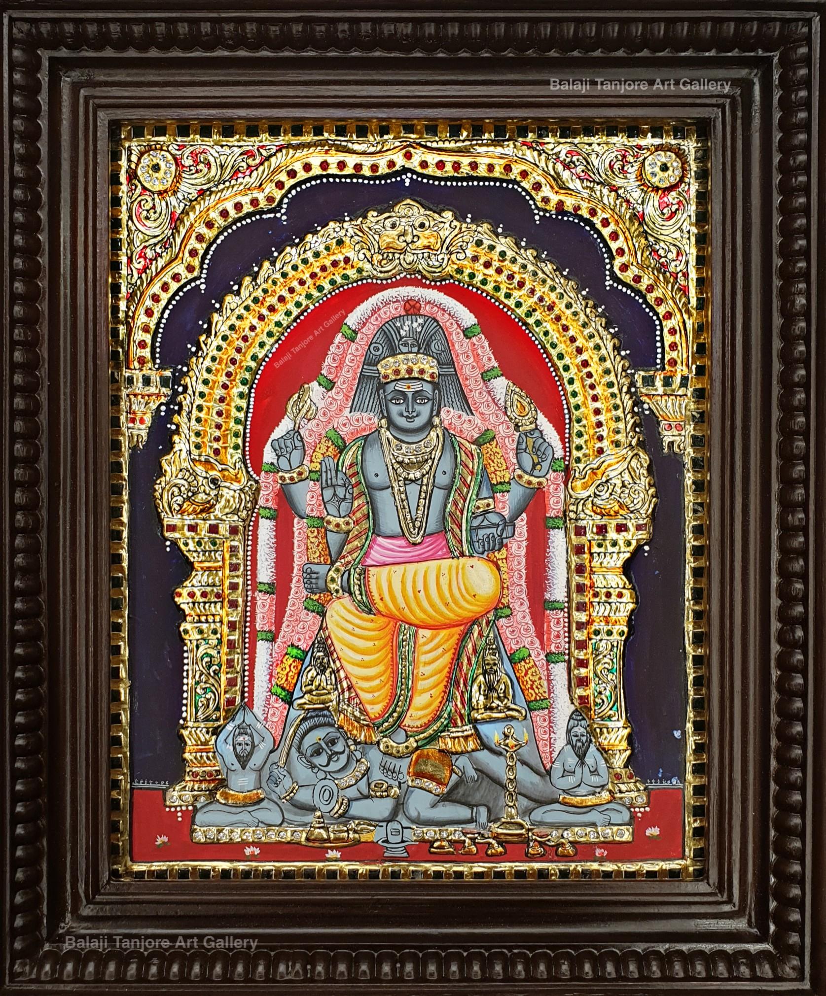 dhakshnamoorthy semi embossing tanjore painting