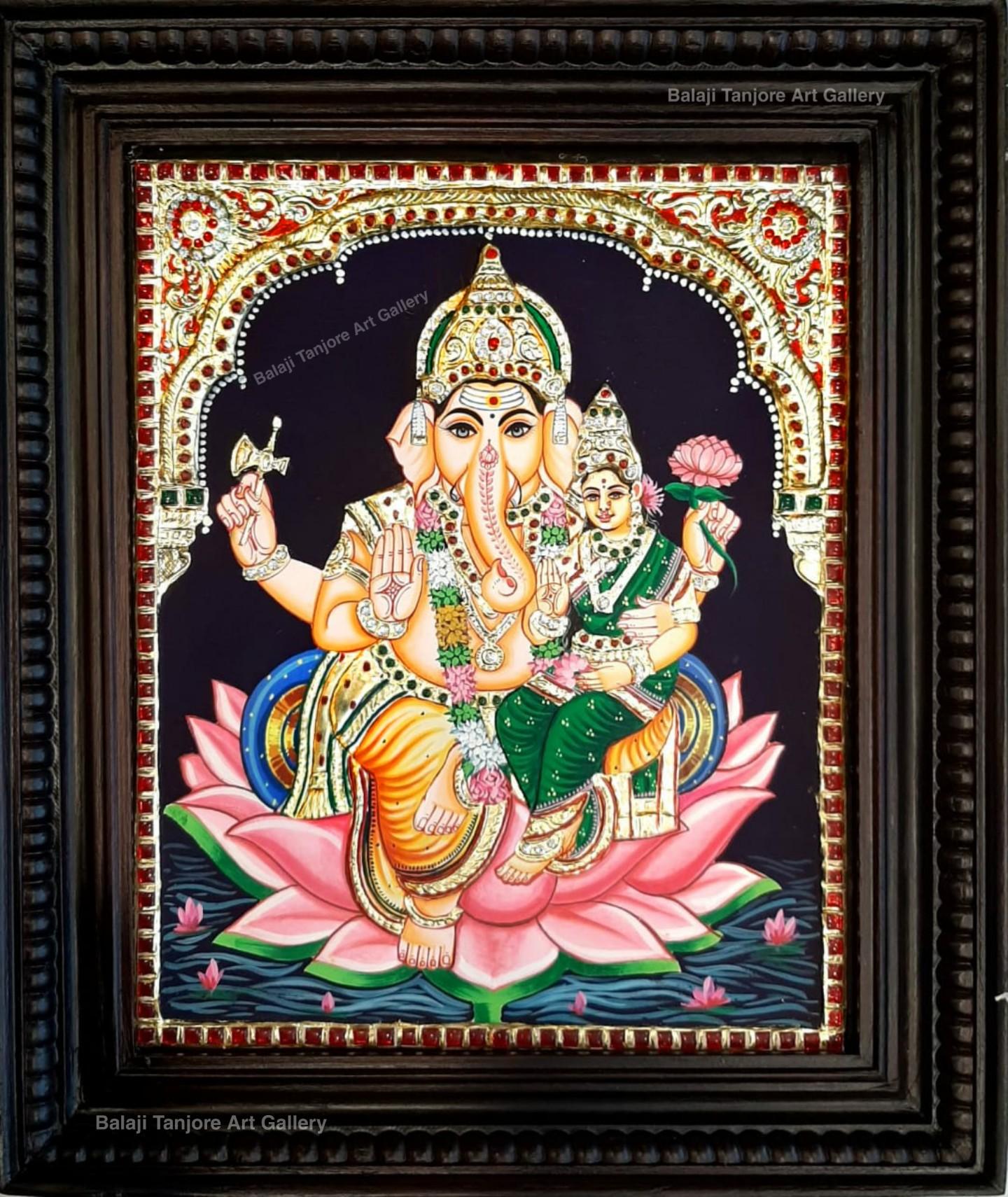 lakshmi ganesha tanjore painting