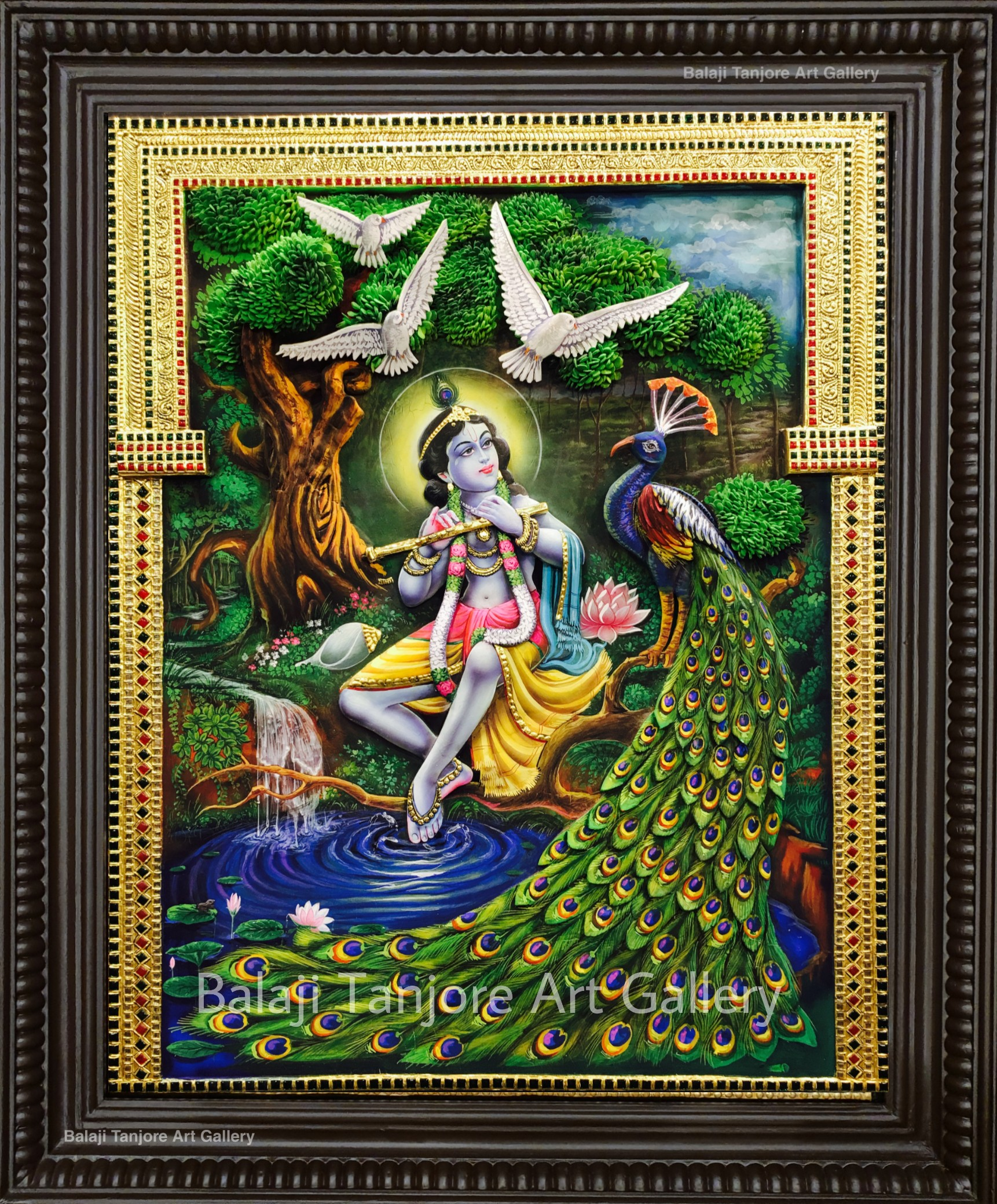 commercial flute krishna tanjore painting