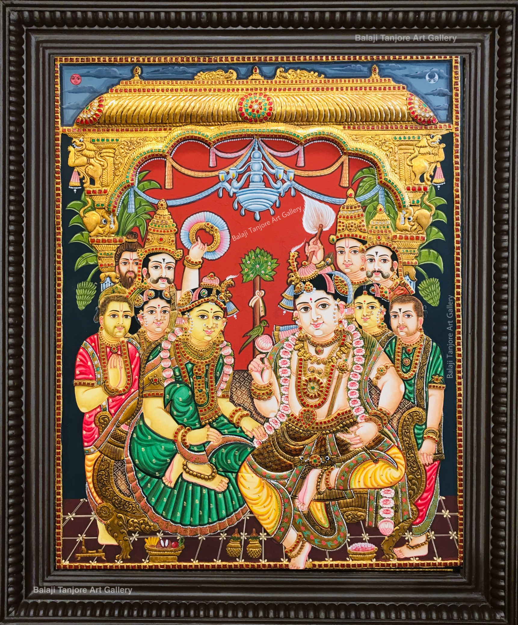 krishna kalyanam antique tanjore painting