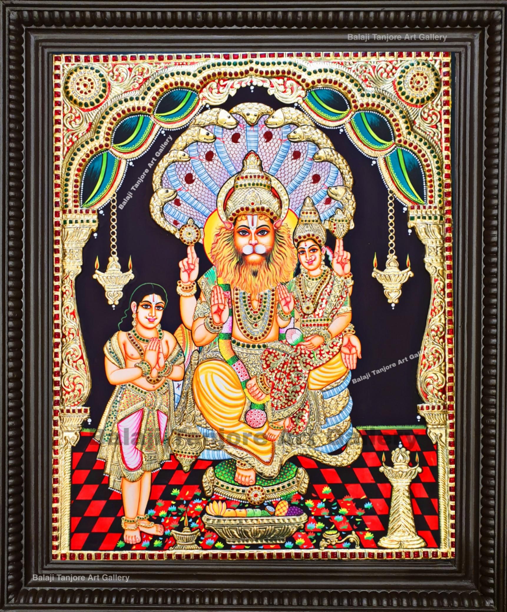 lakshmi narasimha tanjore painting