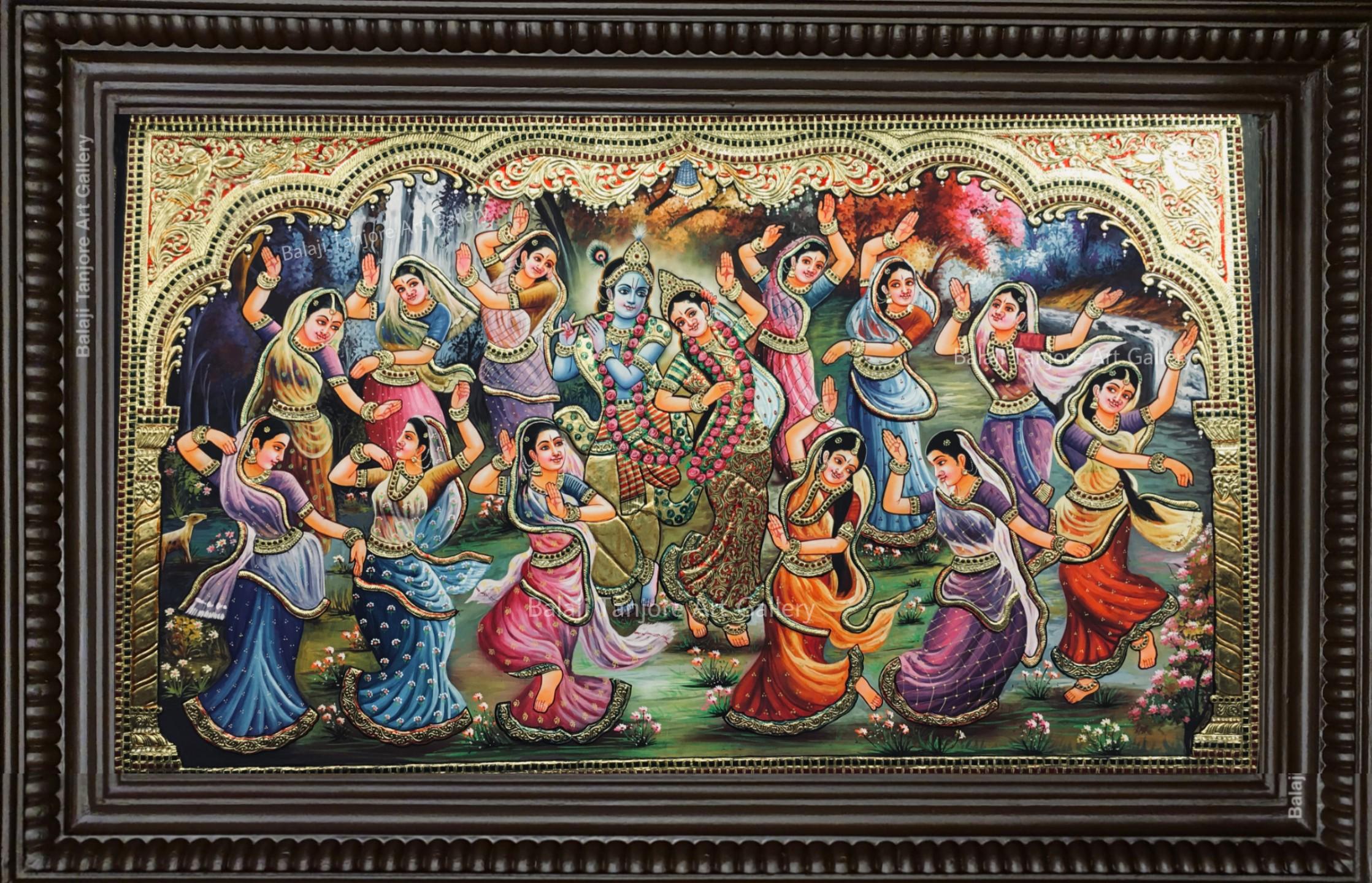 krishna leela tanjore painting