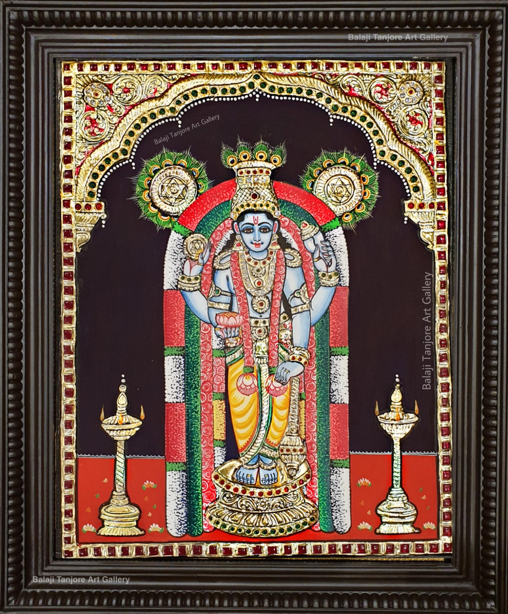 guruvayurappan semi embossing tanjore painting