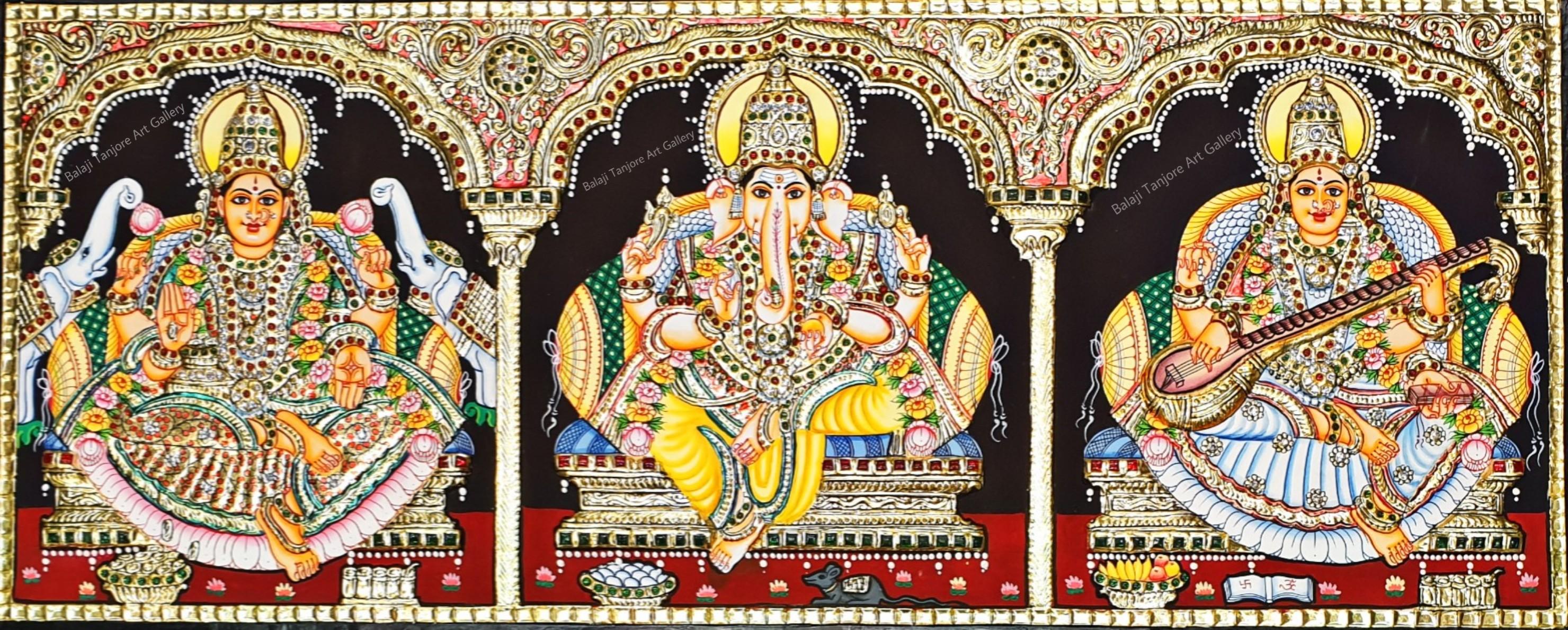 lakshmi ganesha saraswathi tanjore painting