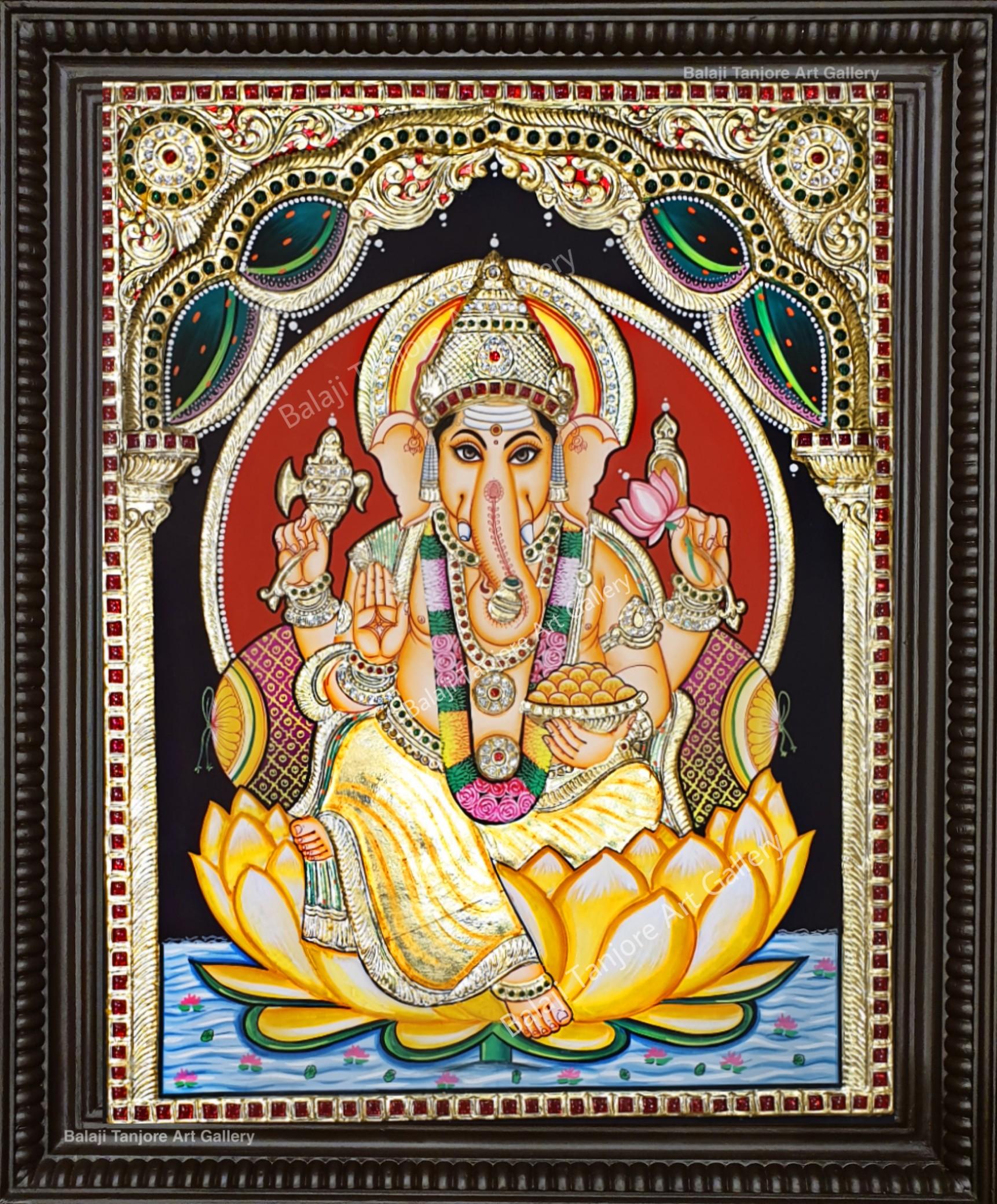 lotus Ganesha tanjore painting