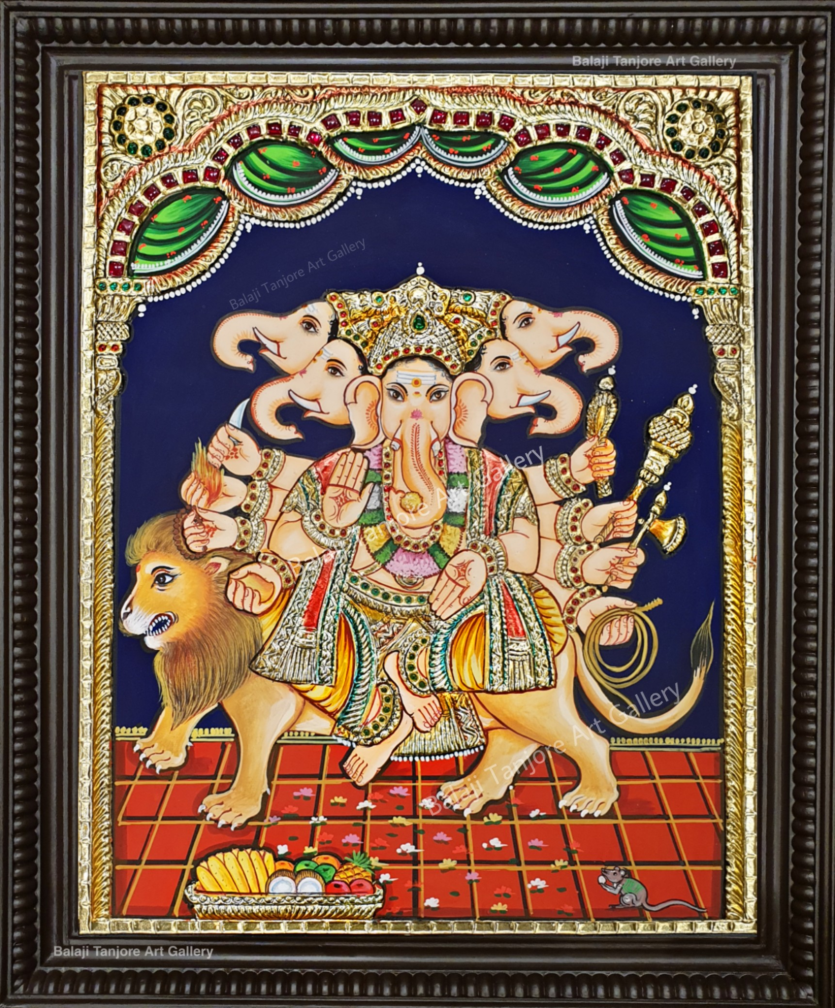 panchamuga vinayagar tanjore painting
