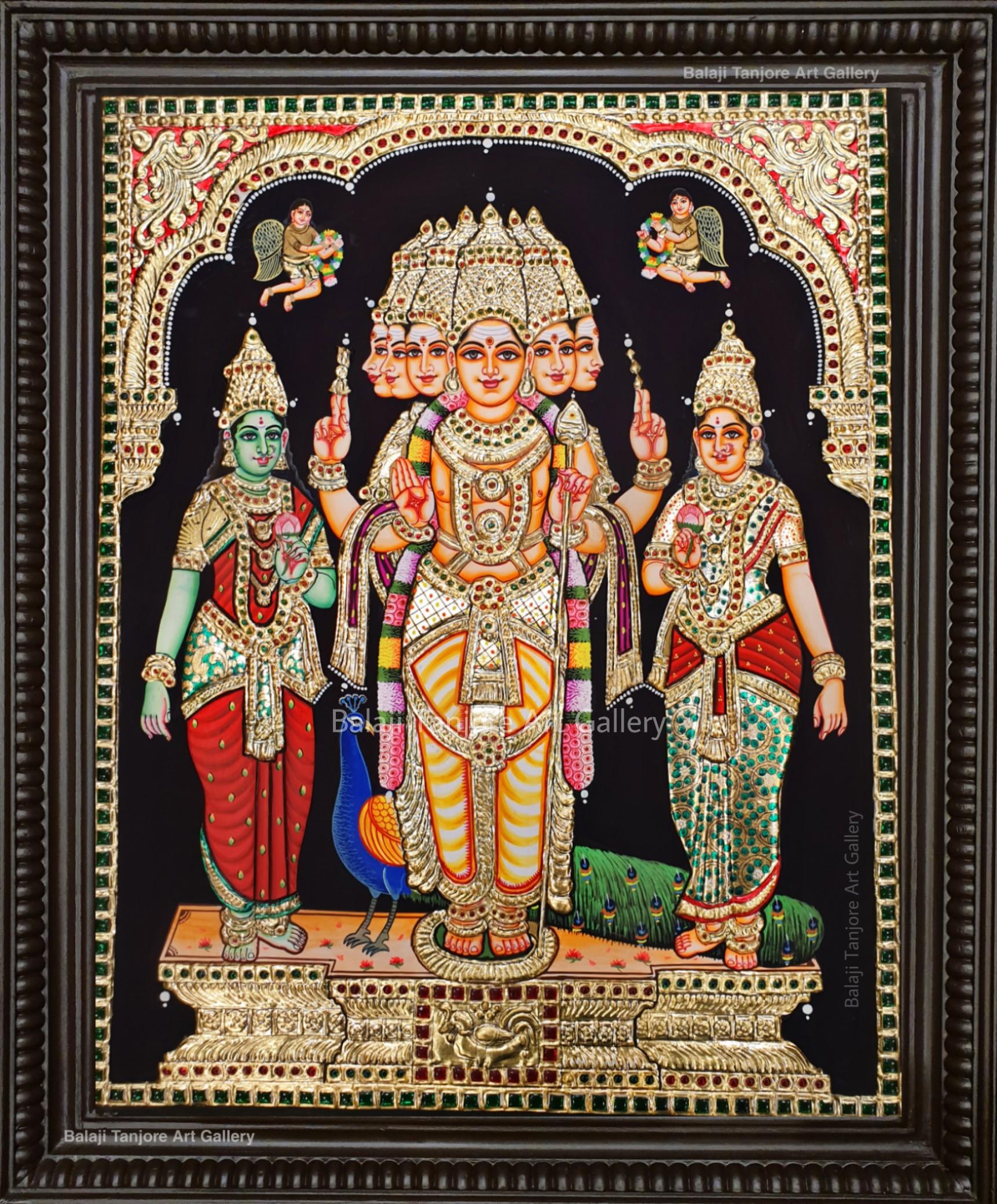 valli deivanai murugan grand tanjore painting