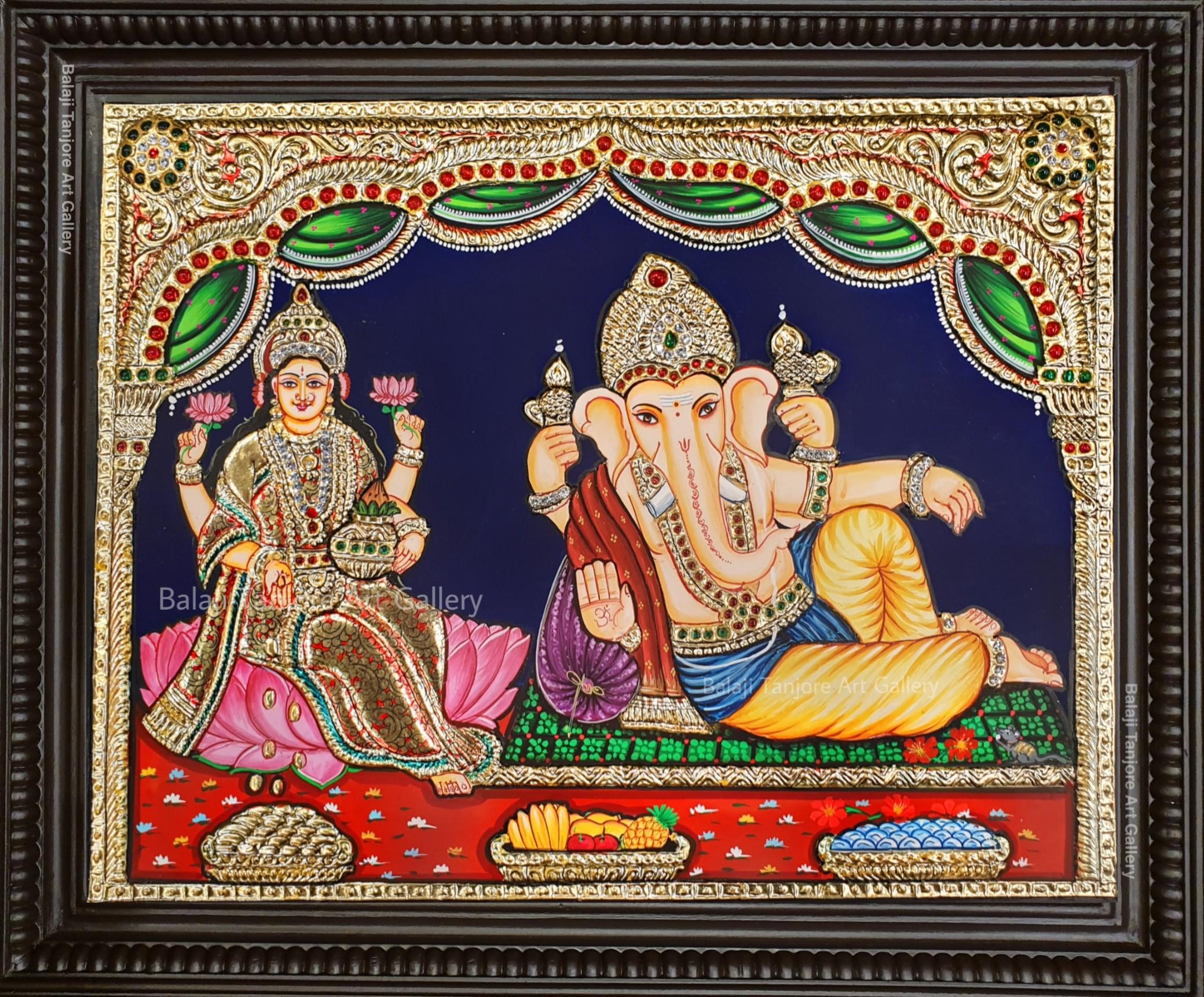 relaxing lakshmi ganesha tanjore painting