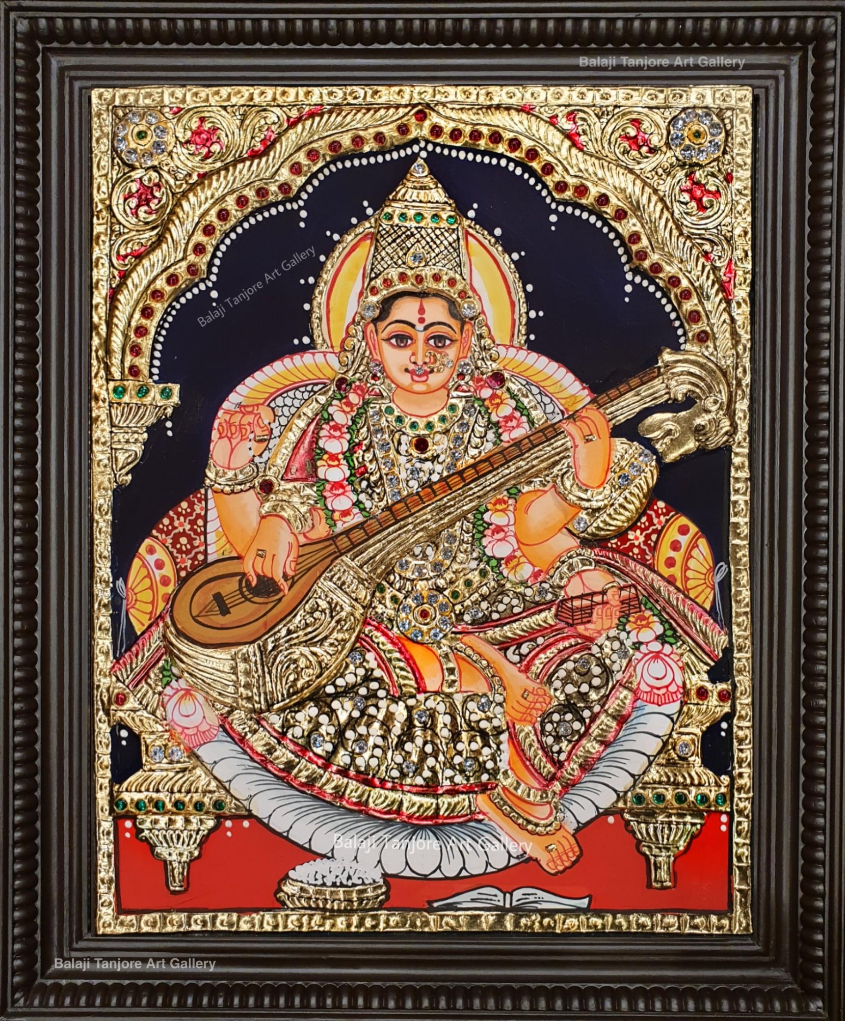 saraswathi semi embossing tanjore painting