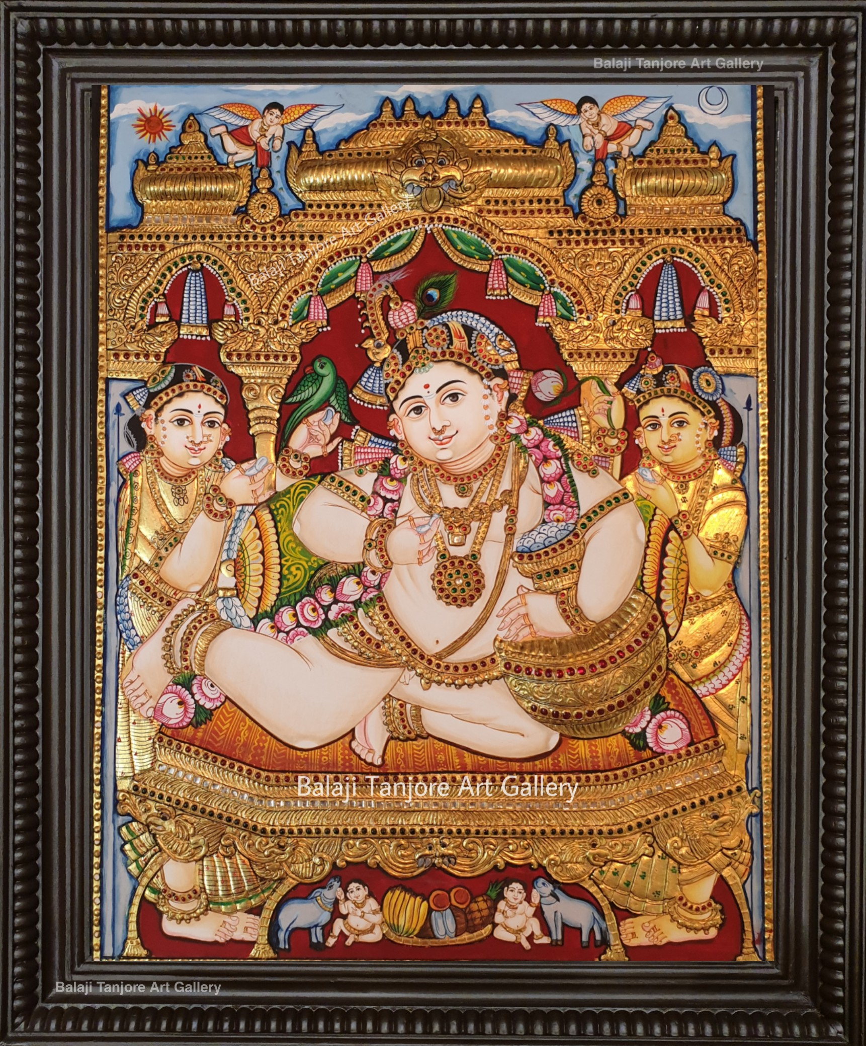 butter krishna antique style semi embossing tanjore painting