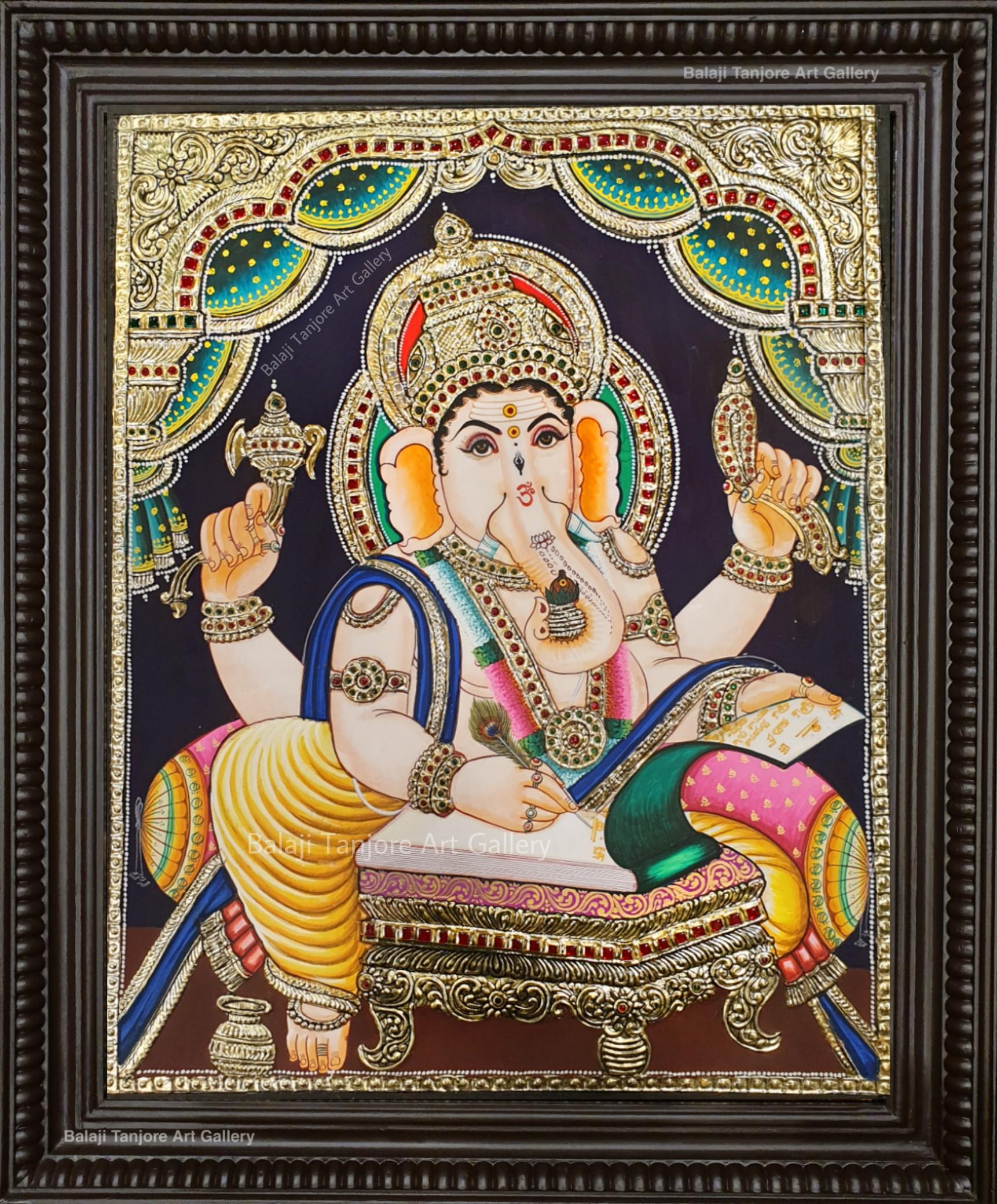 writing ganesha tanjore painting