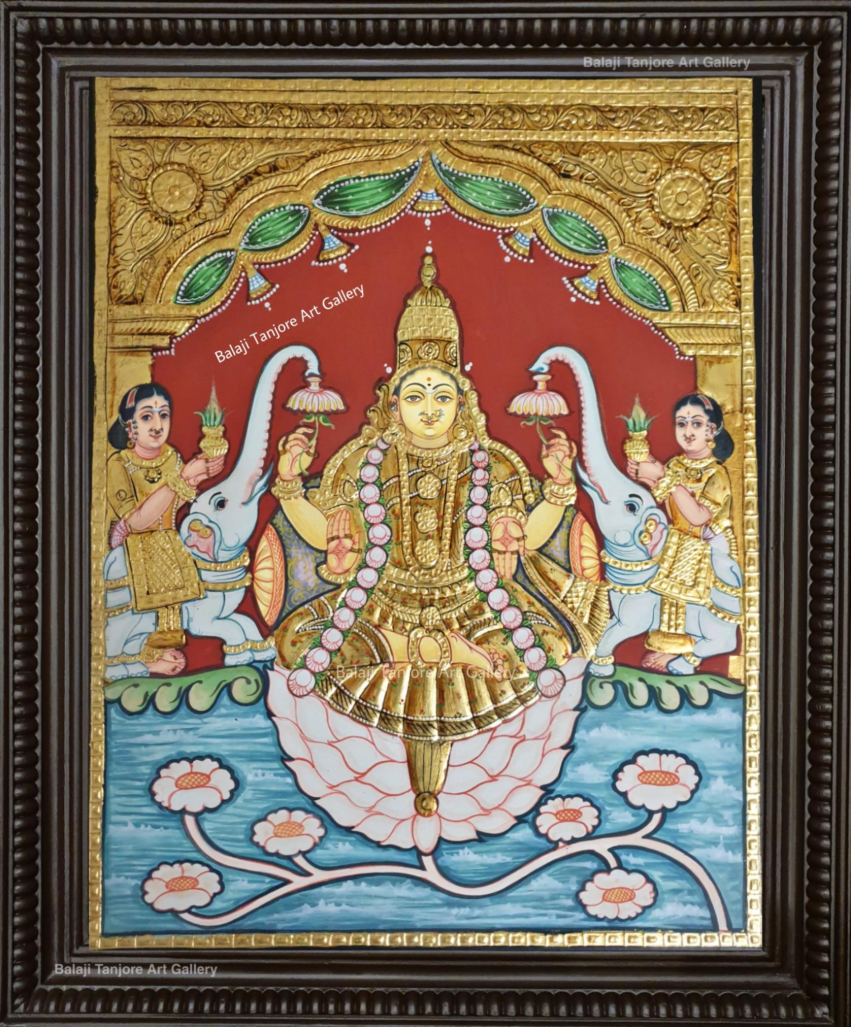 gajalakshmi antique style tanjore painting